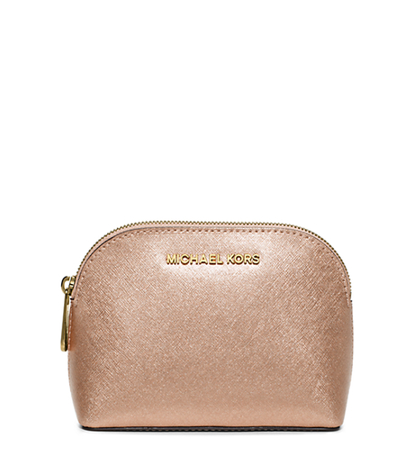 Cindy Metallic Saffiano Leather Pouch - PALE GOLD - 32F5MCPM2M