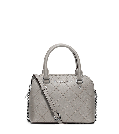 Cindy Extra-Small Saffiano Leather Crossbody - PEARL GREY - 32F5SCPC5T