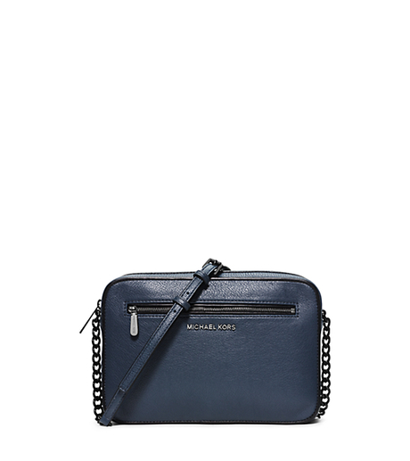 Jet Set Large Leather Crossbody - NAVY/BLACK - 32F5TJIC3L