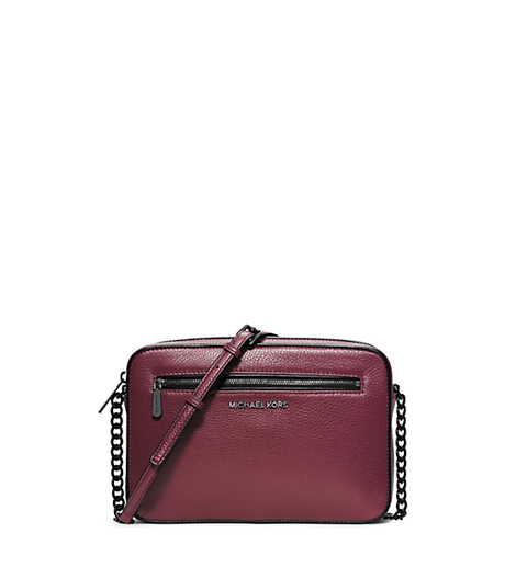 Jet Set Large Leather Crossbody - MERLOT/BLACK - 32F5TJIC3L