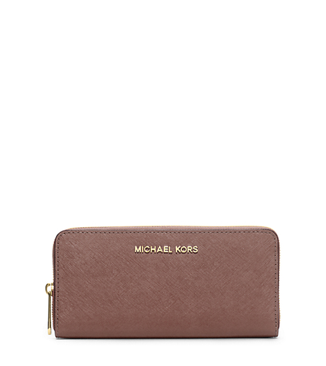 Jet Set Travel Saffiano Leather Continental Wallet - DUSTY ROSE - 32S3GTVE3L