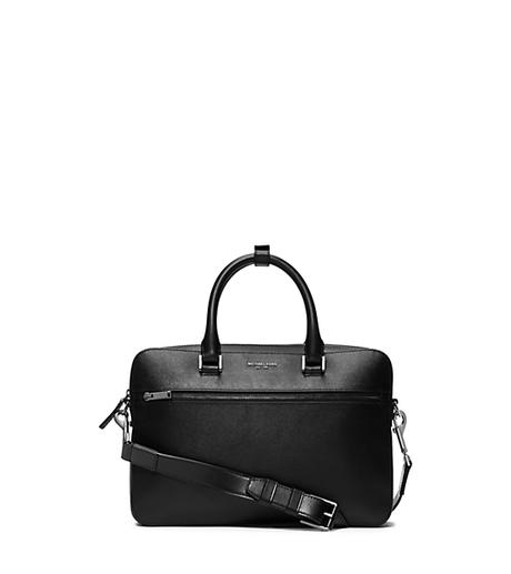 Harrison Small Leather Briefcase - BLACK - 33F5LHRA1L