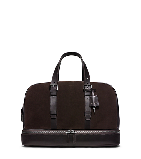 Scott Leather-Trimmed Suede Duffel - ESPRESSO - 33F5LSCU7S