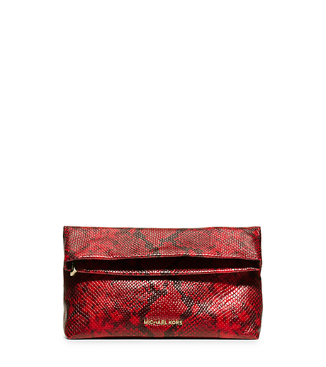 Daria Embossed-Leather Clutch - RED - 30H5GDIC2N
