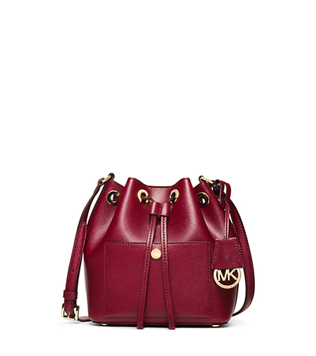 Greenwich Small Saffiano Leather Bucket Bag - CHERRY/BALLET - 30H5GGRM1U