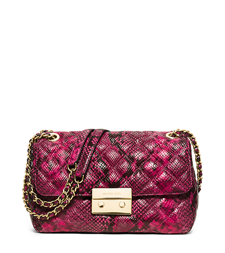 Sloan Large Quilted Embossed-Leather Shoulder Bag - FUCHSIA - 30H5GSLL3E
