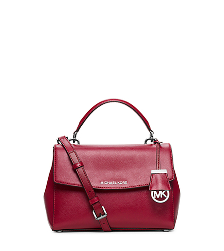 Ava Small Patent Saffiano Leather Satchel - CHERRY - 30H5SAVS1A