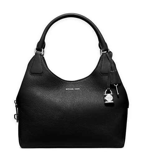 Camille Large Leather Shoulder Bag - BLACK - 30H5SCAE3L