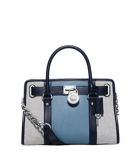 Hamilton Two-Tone Canvas Satchel - NAVY/BLUE - 30H5SHES3C