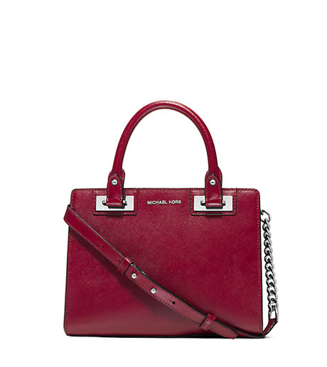Quinn Small Patent Saffiano Leather Satchel - CHERRY - 30H5SQNS1A
