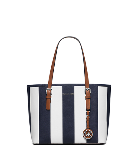 Jet Set Travel Small Saffiano Leather Tote - NAVY/WHITE - 30H5SVST1R