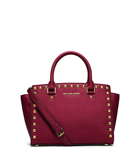 Selma Medium Studded Saffiano Leather Satchel - CHERRY - 30T3GSMS2L