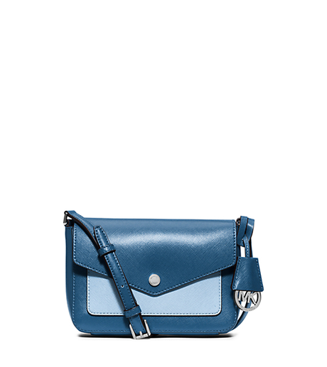 Greenwich Bi-Color Saffiano Leather Crossbody - STEEL BLUE/LIGHT SKY - 32F5SG1C1U