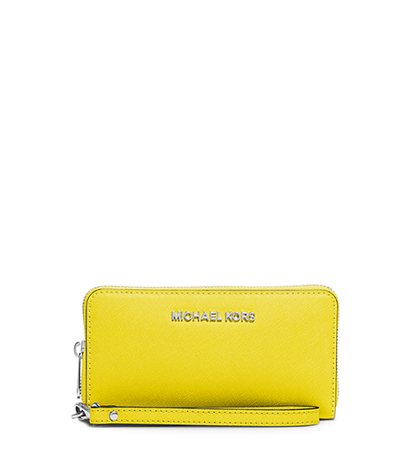Jet Set Travel Large Saffiano Leather Smartphone Wristlet - CANARY - 32H4STVE9L