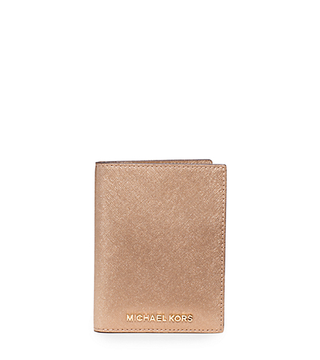 Jet Set Travel Metallic Saffiano Leather Card Holder - PALE GOLD - 32H5MTVT3M