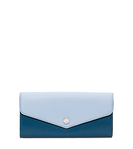 Greenwich Saffiano Leather Wallet - STEEL BLUE/LIGHT SKY - 32H5SGRE2U