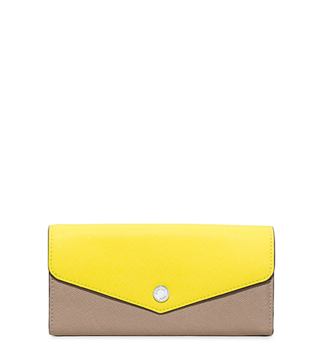 Greenwich Saffiano Leather Wallet - DK TAUPE/CANARY - 32H5SGRE2U
