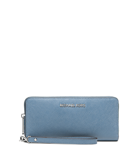Jet Set Travel Saffiano Leather Continental Wallet - SKY - 32S5STVE9L