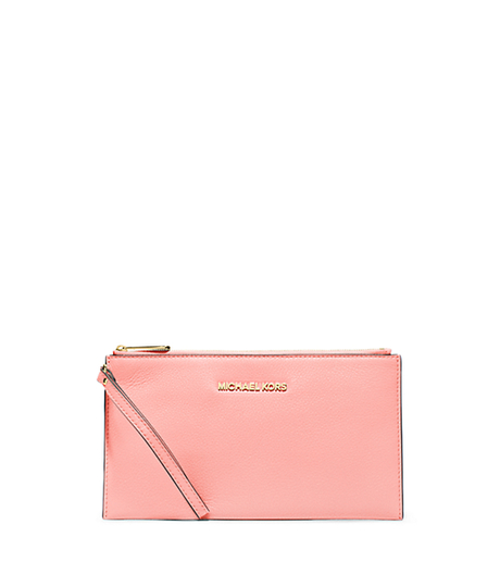 Bedford Large Leather Zip Wristlet - PALE PINK - 32T4GBFW7L