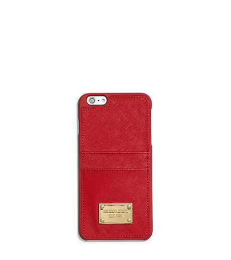 Saffiano Leather Pocket Smartphone Case - RED - 32T5GELL3L