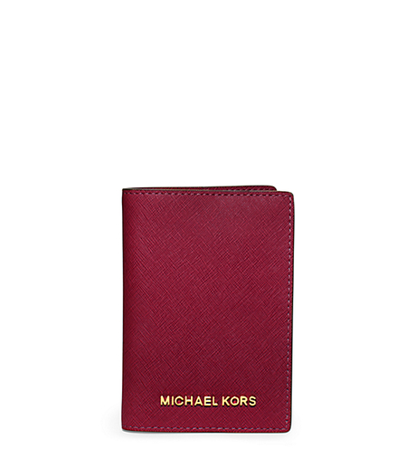 Jet Set Travel Saffiano Leather Passport Case - CHERRY - 32T5GTVT3L