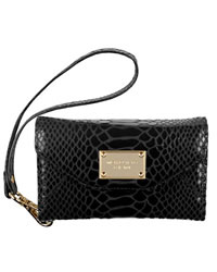 MICHAEL Michael Kors iPhone Wristlet, Black Patent Python-Embossed Leather - BLACK - 8157A0S