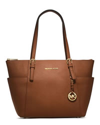 MICHAEL Michael Kors Jet Set Top-Zip Saffiano Tote - LUGGAGE - 30F2GTTT8L-230