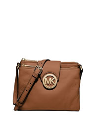 MICHAEL Michael Kors Large Fulton Pebbled Crossbody - LUGGAGE - 32H1GFTC3L-230