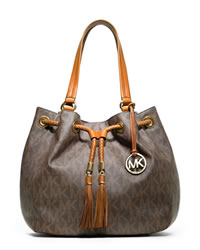 MICHAEL Michael Kors Large Jet Set Gathered Tote - BROWN - 30T3GTTT9B