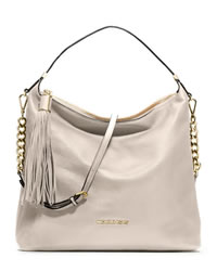 MICHAEL Michael Kors Large Bedford Tassle Pebbled Shoulder Bag - VANILLA - 30T3MWSL3L
