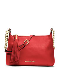 MICHAEL Michael Kors Small Bedford Tassle Pebbled Messenger Bag - MANDARIN - 30T3MWSM1L