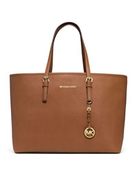MICHAEL Michael Kors Medium Jet Set Multifunction Saffiano Travel Tote - LUGGAGE - 30S3GTVT6L