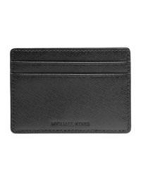 Michael Kors Saffiano Card Carrier - BLACK - 39F2MMND1L