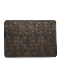 Michael Kors Logo PVC Card Carrier - BROWN - 39F2MMND1B