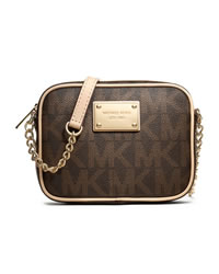 MICHAEL Michael Kors Jet Set Monogram Crossbody - BROWN - 32F1GJSC1B