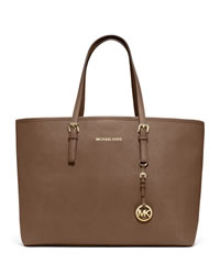 MICHAEL Michael Kors Medium Jet Set Multifunction Saffiano Travel Tote - DARK DUNE - 30S3GTVT6L
