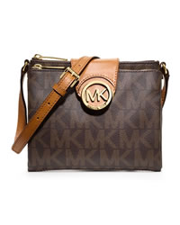 MICHAEL Michael Kors Large Fulton Logo Crossbody - BROWN - 32F3GFTC3B
