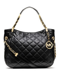 MICHAEL Michael Kors Medium Susannah Quilted Shoulder Bag - BLACK - 30F3GAHE2L