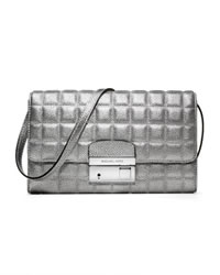 Michael Kors Gia Metallic Quilted Leather Clutch - SILVER - 31F3MGAC3M