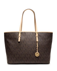MICHAEL Michael Kors Medium Jet Set Multifunction Logo Travel Tote - BROWN - 30T3GTVT6B
