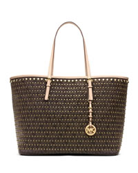 MICHAEL Michael Kors Medium Jet Set Studded Travel Tote - BROWN - 30H3GVDT2B