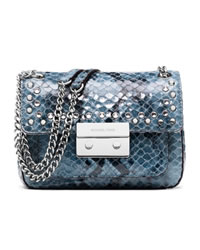 MICHAEL Michael Kors Small Sloan Jeweled Shoulder Flap Bag - DENIM - 30H3MOJF1E