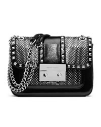 MICHAEL Michael Kors Small Sloan Studded Shoulder Flap Bag - BLACK/WHITE - 30H3SNSF1E