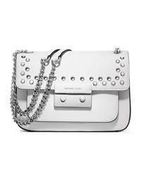 MICHAEL Michael Kors Small Sloan Jeweled Shoulder Flap Bag - OPTIC WHITE - 30H3SOJF1L