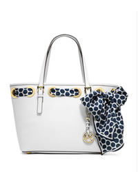 MICHAEL Michael Kors Small Jet Set Scarf Tote - OPTIC WHITE - 30H3GRFT1L