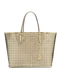 MICHAEL Michael Kors Medium Perforated Flower Travel Tote - GOLD - 30S4MWFT2V