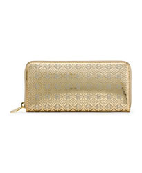 MICHAEL Michael Kors Perforated Flower Zip-Around Wallet - GOLD - 32S4MWFZ3V