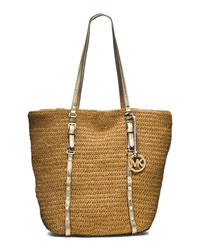 MICHAEL Michael Kors Large Studded Straw Shopper - NATURAL/PALE GOLD - 30S4GSWT3W