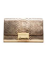 Michael Kors Gia Snake-Embossed Clutch - PALE GOLD - 31S4GGAC2M