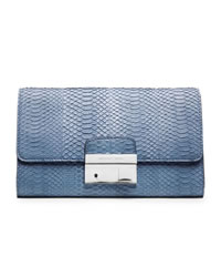 Michael Kors Gia Snake-Embossed Clutch - CHAMBRAY - 31S4PGAC2Z